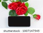 blank screen of new smartphone... | Shutterstock . vector #1007147545