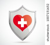 protection shield with red... | Shutterstock .eps vector #1007151652