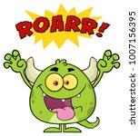 green monster cartoon emoji... | Shutterstock .eps vector #1007156395
