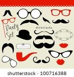retro party set   sunglasses ... | Shutterstock .eps vector #100716388