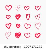 hand drawn doodle hearts icons... | Shutterstock .eps vector #1007171272