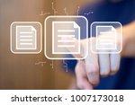 businessman presses button file ... | Shutterstock . vector #1007173018