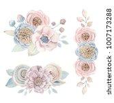 handpainted watercolor flowers... | Shutterstock . vector #1007173288