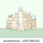 sketch of working little people ... | Shutterstock .eps vector #1007180152