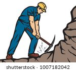 confident coal miner with pick... | Shutterstock .eps vector #1007182042