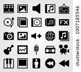 multimedia icon set vector. man ... | Shutterstock .eps vector #1007185546