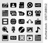 multimedia icon set vector.... | Shutterstock .eps vector #1007188012