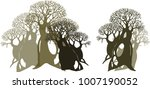 the forest of baobabs.... | Shutterstock .eps vector #1007190052