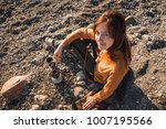 young woman cooking coffee on... | Shutterstock . vector #1007195566