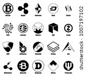 cryptocurrency types icons set. ... | Shutterstock .eps vector #1007197102
