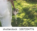 close up of a bride with flower ... | Shutterstock . vector #1007204776
