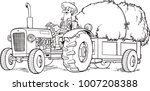tractor with hay in the cart... | Shutterstock .eps vector #1007208388