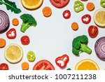 assorted sliced vegetables and... | Shutterstock . vector #1007211238