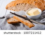 brown bread and butter  old... | Shutterstock . vector #1007211412