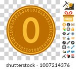 zero digital coin icon with...