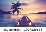 romantic beach with wooden... | Shutterstock . vector #1007225695