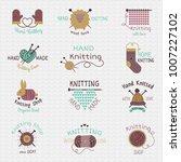 knitting needles logo vector... | Shutterstock .eps vector #1007227102