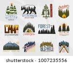 camp logo  mountains coniferous ... | Shutterstock .eps vector #1007235556