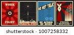 vector soviet propaganda... | Shutterstock .eps vector #1007258332
