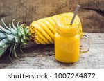 pineapple smoothie with fresh... | Shutterstock . vector #1007264872