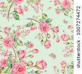 watercolor seamless rose... | Shutterstock . vector #1007274472