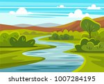 cartoon landscape with... | Shutterstock .eps vector #1007284195