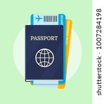 passport and airline boarding... | Shutterstock .eps vector #1007284198