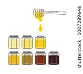 several hexagonal jars with... | Shutterstock .eps vector #1007289646