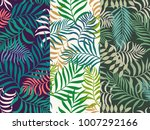 Stock vector set of three seamless floral pattern tropical background with palm leaves 1007292166