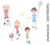 sport family. grandfather ... | Shutterstock .eps vector #1007300392