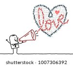 cartoon man with megaphone and...   Shutterstock .eps vector #1007306392