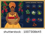 african woman with a basket... | Shutterstock .eps vector #1007308645
