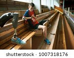 portrait of young disabled man... | Shutterstock . vector #1007318176