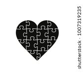 Puzzle Heart  Vector Black...