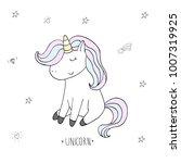 cute unicorn print for kids.... | Shutterstock .eps vector #1007319925