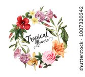 greeting card with tropical... | Shutterstock .eps vector #1007320342
