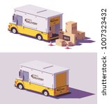 isometric delivery step van... | Shutterstock .eps vector #1007323432