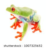 Small photo of Red eyed tree frog an animal with vibrant eyes. Agalychnis callydrias lives in the rain forest of Costa Rica and Panama. Amphibian isolated on white background.