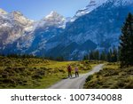 two travelers hiking to trail... | Shutterstock . vector #1007340088