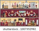 Stock vector restaurant interior set with people sitting kitchen and bar 1007352982