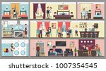 hotel interior set. people and... | Shutterstock .eps vector #1007354545