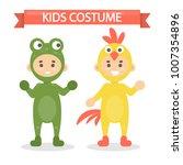 kids costumes set. babies in... | Shutterstock .eps vector #1007354896