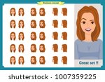 set of woman's emotions design. ... | Shutterstock .eps vector #1007359225