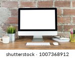 workspace with computer with... | Shutterstock . vector #1007368912