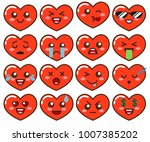 emoji red hearts. cute... | Shutterstock .eps vector #1007385202