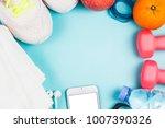 sports shoes  dumbbell fitness... | Shutterstock . vector #1007390326
