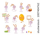 easter bunnies and eggs. a set... | Shutterstock .eps vector #1007404762