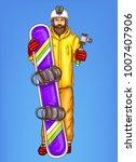 pop art snowboarder man vector... | Shutterstock .eps vector #1007407906