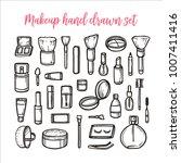 makeup hand drawn set. beauty... | Shutterstock .eps vector #1007411416