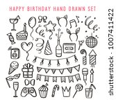 happy birthday hand drawn set.... | Shutterstock .eps vector #1007411422